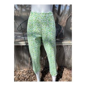 Vintage 50s Floral Pedal Pushers Pant Green
